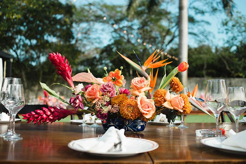 centros de mesa boda en color naranja