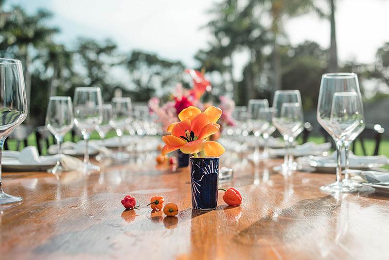 decoracion para boda en naranja