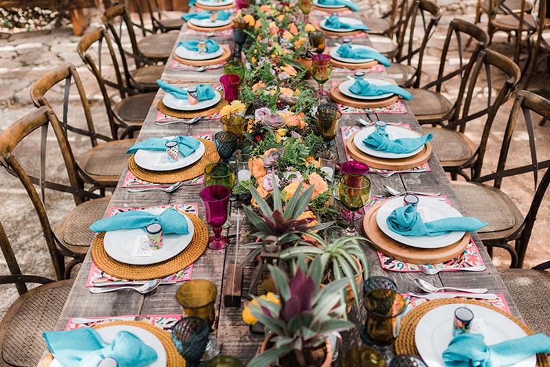 tableware para boda estilo mexico