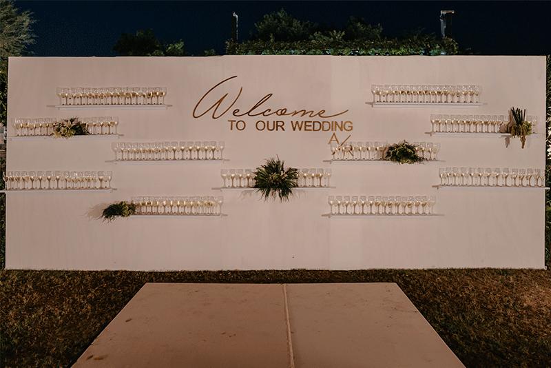 muro de copas para boda