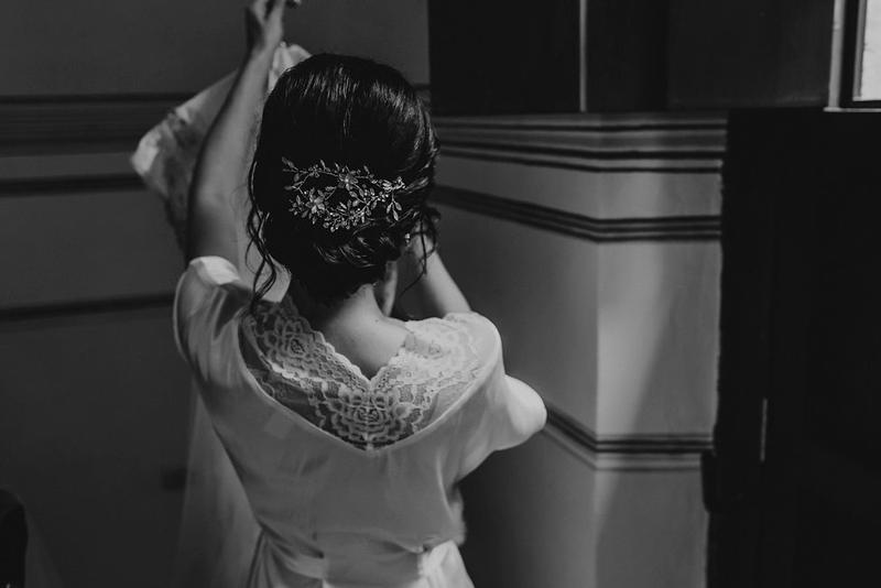 Bride on her wedding dress