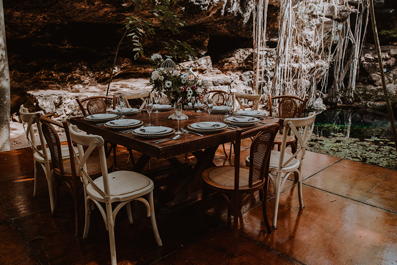 wooden tables for cenote wedding