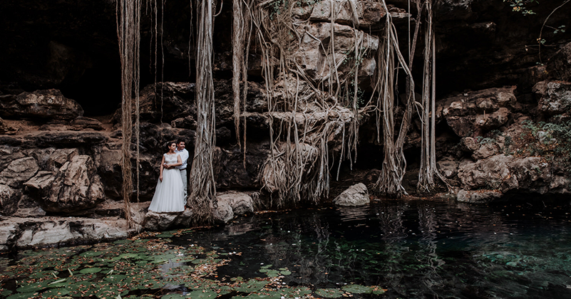Destination wedding at cenote