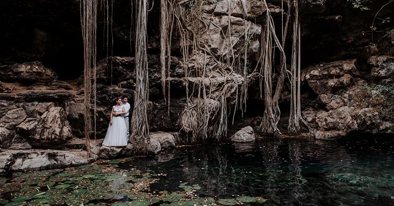 Destination wedding at cenote
