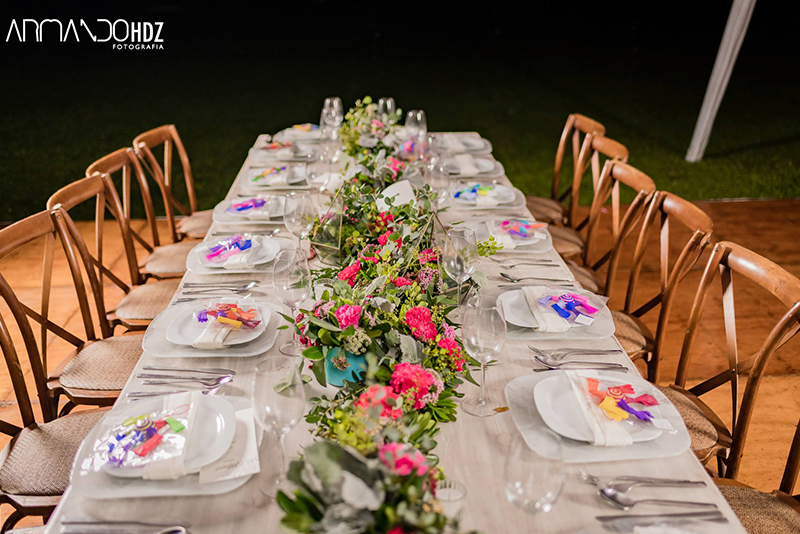 Recepction at wedding in hacienda
