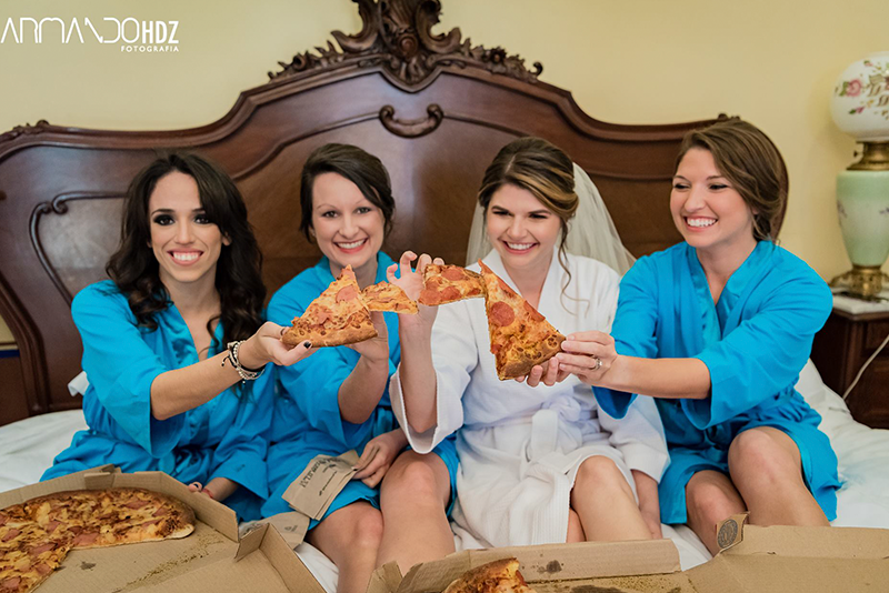 Bride and her bridesmaids