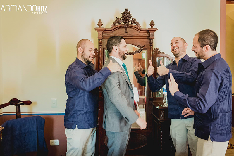 Groom and friends