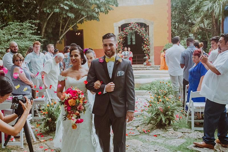 novios en boda en merida